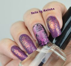 Nails by Malinka: Paars en flakies