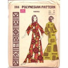 Polynesian Pattern 188 Kahiko Dress, Maxi Dress with 3/4 Length Sleeves, Hawaiian, Vintage 1970s