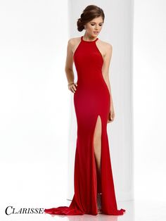 Clarisse Prom 3106 Apple Red High Neckline Prom Dress