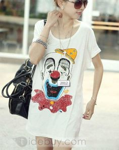 Cheap Korean Style Loose Short Sleeves Print T-shirt : Tidebuy.com