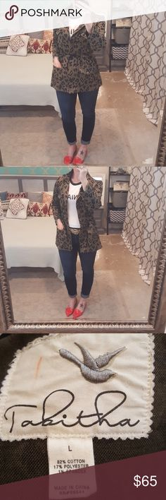 "Anthropologie Peplum Leopard Print Jacket I am selling a gorgeous and fun Tabitha, (Anthropologie) jacket.  This is a fit and flare/peplum silhouette with a front zipper and functional front pockets.  Excellent condition size Large.  I love the adjustable side bungees which allow you to tailor, loosen or tighten the waistline to your liking and your body!!   Super, super soft!!  I listed as a trench but really this is more a ""safari"" style. Anthropologie Jackets & Coats Trench Coats"