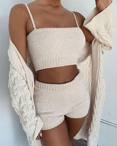 Spaghetti Strap Knitting Tank & Shorts Sets Women's Online Shopping Offering Huge Discounts on Dresses, Lingerie , Jumpsuits , Swimwear, Tops and More. Moda Instagram, Crochet Clothes, Diy Clothes, Crochet Shorts Outfit, Knit Shorts, Crochet Outfits, Cheap Clothes, Lazy Outfits, Fashion Clothes