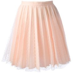 RED VALENTINO pleated lace skirt (680 RON) ❤ liked on Polyvore featuring skirts, bottoms, saias, faldas, a-line skirt, knee length pleated skirt, pink skirt, pink polka dot skirt and pink a line skirt