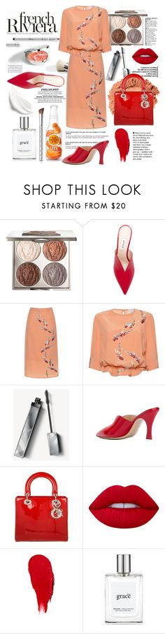 """""""Summer in the French Riviera"""" by tenindvr ❤ liked on Polyvore featuring Anja, Christian Dior, Chantecaille, Attico, Stella Jean, Burberry, Lime Crime, Rodin, philosophy and By Terry"""