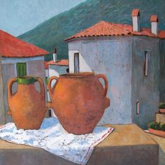 Pitchers and roofs - oil on board - 69x69 cm