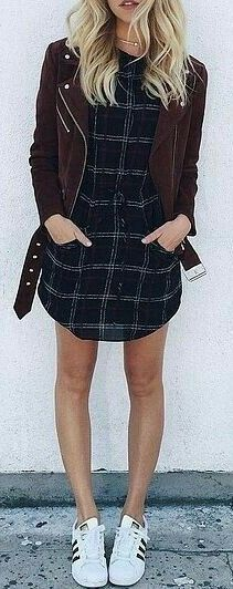 fall outfit ideas / plaid shirt dress + burgundy jacket