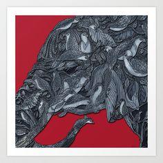 Elephant Birds Art Print by Dale Keys - $18.00