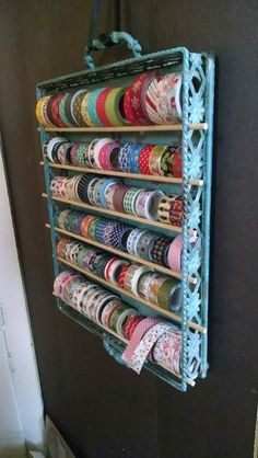 How to make a simple rope plant hanger hobbys easy and pretty washi tape storage metal tray from hobby lobby wooden dowels from walmart hung from a ribbon craft room makeover Craft Room Storage, Sewing Room Storage, Sewing Room Organization, Knitting Storage, Craft Ribbon Storage, Bobbin Storage, Sewing Room Decor, Fabric Storage, Ribbon Organization