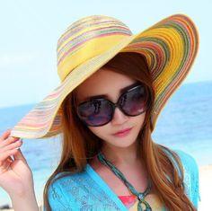 Summer bow wide brim straw hat for women stripe design