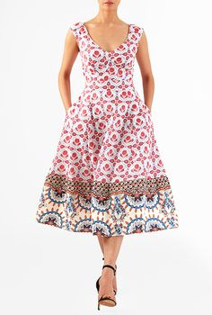 Floral tile print cotton cambric midi dress #eShakti