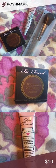 Too Faced Bronzer & Primer Includes two too faced samples. Hangover Rx, a nourishing face primer with coconut water (5 mL/.16 fl. Oz) & Chocolate Soleil, a matte bronzer infused with cocoa powder (2.5 g). Also includes a brand new elf bronzing brush! These are all great products and have never been opened! Too Faced Makeup Bronzer