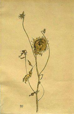 Egon Schiele, Wilted Sunflower Gouache and pencil on paper Private collection