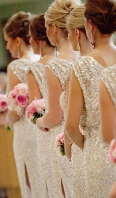 Glitter bridesmaid gowns.