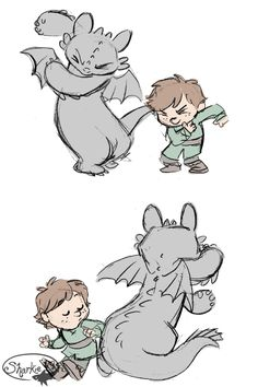 Its Hiccup and Tootless doing Calvin and Hobbes' dance thing! So cute...