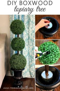 DIY Outdoor Topiary – I saved SO much money doing this! How to Make Topiary Trees – This easy tutorial shows you how to make boxwood topiaries. Perfect for your front porch for Christmas Spring or make smaller ones for a baby shower, centerpiece or other home décor. This simple project gives the look of real boxwood plants by your front doors. #easydiy #topiarytrees