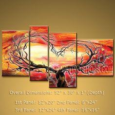 """Handmade Large Multiple Panels Wall Art For Interior Design Modern Art Tree 52"""" x 30"""" #2227"""