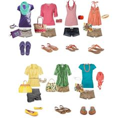 Rainbow of Summer, created by heather-rolin. I need to get into shorts more! Super cute outfits