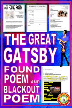 Students love this creative approach to examining imagery in F. Scott Fitzgerald's The Great Gatsby! These activities are an engaging way to encourage students' appreciation of Fitzgerald's lyrical diction and use of figurative language. Includes instructions and examples of found poems and blackout poems.  A fun and engaging way to study figurative language and diction.  #highschoolenglish #secondaryela #novelstudy #creative activities #distancelearning Poetry Activities, Creative Activities, English Activities, Found Poem, English Words, English Language, Language Arts, Poetry Unit, Mentor Texts