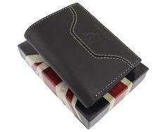 Vyriška odinė Harvey Miller piniginė. Rudos spalvos yra pagaminta iš natūralios galvijų odos.