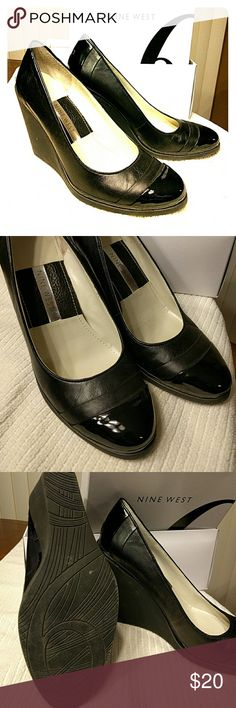 NINE WEST closed toe wedges Black leather/ patent wedge.  Great condition.  In original box. Nine West Shoes Heels