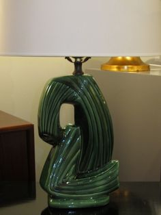 """The Palm Springs Lamp"": palm green ceramic with curvy striations. SOLD"