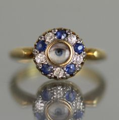 UNUSUAL ANTIQUE 18CT GOLD & DIAMOND & SAPPHIRE RING WITH LOVERS EYE MINIATURE