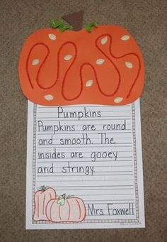 Fall is coming and your students will LOVE doing this pumpkin craft and descriptive writing!