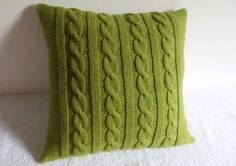 Decorative Chartreuse Knit Throw Pillow, Green Spring Pillow Cover, Hand Knitted Pillow Case, Light Green Couch Pillow by Adorablewares on Etsy Crochet Pillows, Crochet Pillow Cases, Knitted Cushions, Knit Pillow, Knitted Blankets, Knit Crochet, Green Pillow Covers, Green Throw Pillows, Couch Pillows