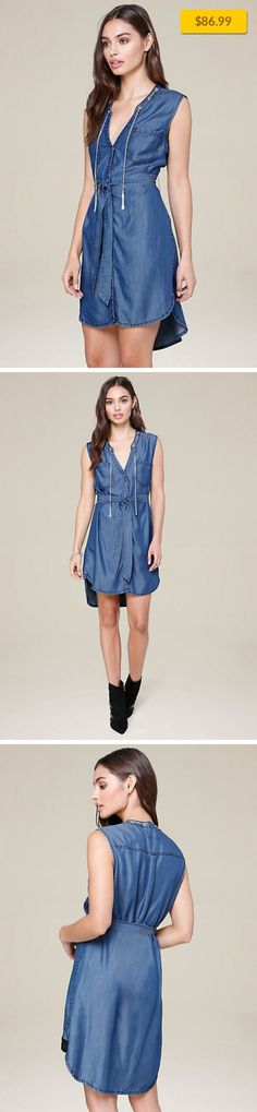 """Chain Shirtdress SALE, ALL SALE DARK INDIGO   Work-related shirtdress in essential chambray. Patch pockets, detachable tie belt and hi-lo shirttail hem. Chic tasseled chain accent detaches and can be worn separately. Front snap closures. 100% Lyocell Dry clean Imported Center back to hem: 37"""" (94 cm) Model is 5'8.5"""" and wears a US size S"""