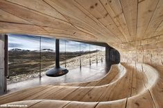 Reindeer observation pavilion by architects Snøhetta, Dovre Mountains in Norway. Named the Norwegian Wild Reindeer Centre Pavilion, the building is used as an education centre by charity the Wild Reindeer Foundation. >>> This is awesome Architecture Design Concept, Architecture Cool, Sustainable Architecture, Concrete Architecture, Cultural Architecture, Architecture Interiors, School Architecture, Futuristic Interior, Modern Interior