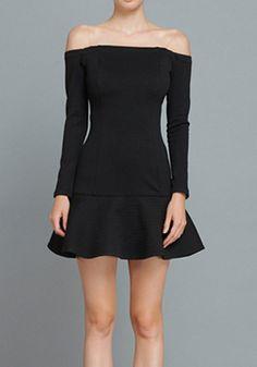 Black Plain Falbala Wrap Cotton Blend Mini Dress