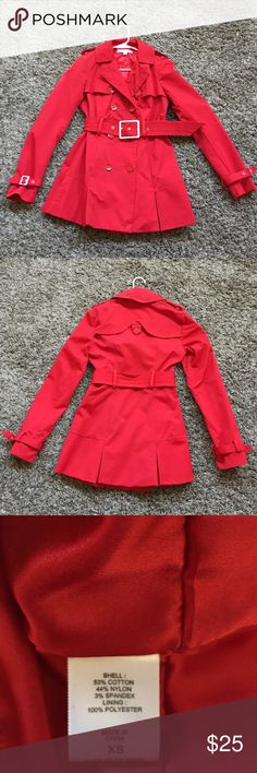 New York and Company Red Trench Coat Red Trench coat from New York & Company. Fully Lined New York & Company Jackets & Coats Trench Coats