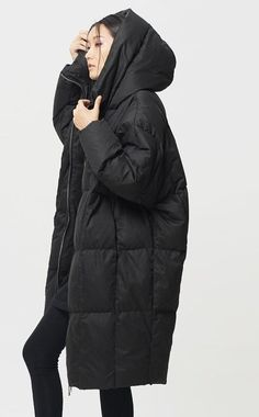 Womens Winter Loose Fitting Down Coat Womens Hooded by hodoostory