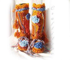 Fabulous Funky Crochet Slipper Boots