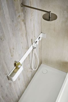 Rexa Design Design by Giulio Gianturco Collection Ergo-nomic Corian® bathroom wall shelf / shower tap Bathroom Drain, Bathroom Toilets, Laundry In Bathroom, Bathroom Fixtures, Corian Shower Walls, Shower Taps, Bathroom Storage Shelves, Shower Shelves, Bad Inspiration
