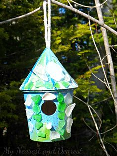 Bird house decorated with sea glass - a project for kids of all ages