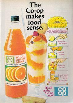 1968 ad. Magazine Advert, Orange Drinks, Time Photo, Vintage Ads, Food To Make, Good Food, Childhood, Food And Drink, Ice Cream