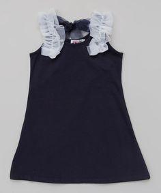 Navy Tulle Ruffle Dress - Toddler & Girls