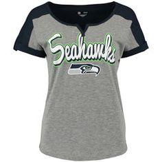 Seattle Seahawks 5th & Ocean by New Era Women's Slub V-Notch Scoop T-Shirt - Gray/College Navy