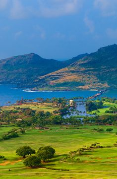 aerial view of Nawiliwili Harbor and the Kauai Lagoons Golf Course on Kauai, Hawaii,