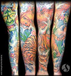 tattoo sleeve with koi, tiger, rose and dragon and waves  | Color Japanese Sleeve: Koi, Tiger, Hannya Mask
