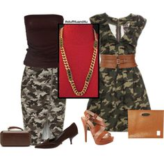"""""""Military Maven"""" Camouflage can be chic and alluring with the right accessories.  #stuff4uand4u http://stores.ebay.com/Stuff4Uand4U"""