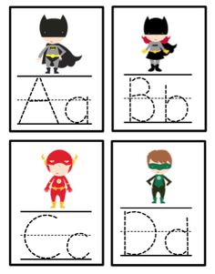 Super Hero Alphabet Tracing Cards Cards are designed so they can be put on a ring. Superhero Preschool, Superhero Classroom Theme, Classroom Themes, Superhero Ideas, Superhero Party, Super Hero Activities, Kids Learning Activities, Alphabet Tracing, Alphabet Cards