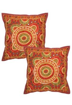 Indian Ethnic Pillow Cushion Cover With Embroidery & Mirror Work Indian Cotton Pillow Cover Size 16 X 16 Inches Set of 2 Pcs by Rajrang, http://www.amazon.com/dp/B00AAUKR1C/ref=cm_sw_r_pi_dp_0Cvrrb1BH0JRT