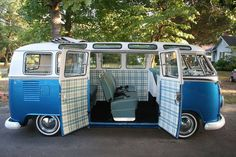 vw bus blue paid interior