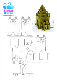 Pin on Cards - Pop-up castles, houses & churches Pop Up Card Templates, Card Making Templates, 3d Cards, Pop Up Cards, Folded Cards, Cardboard Sculpture, Cardboard Crafts, Kirigami Patterns, Pop Can Crafts