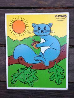 Vintage PlaySkool Wooden Squirrel Puzzle by FleaMarketLover