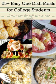25+ easy one dish meals for college students (and anyone else who wants an easy meal!) So yummy! Easy Student Recipes, College Student Recipes, Easy College Recipes, Student Food, College Hacks, Cheap College Meals, Cheap Student Meals, Healthy Student Meals, College Cooking