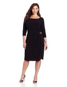 Jones New York Women's Plus Size Side Trim Detail Dress, Black, 14W Jones New York,http://www.amazon.com/dp/B00CEZQ0RQ/ref=cm_sw_r_pi_dp_DcQgsb0SZ1F5CP0K