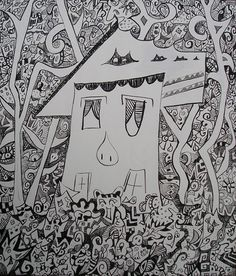 """""""House in the woods"""". Acrylic on canvas, 2004. Dimensions: 70 x 60cm"""